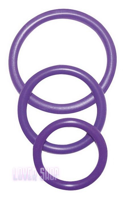 Набор колец на пенис Cock&Ball Rings Rubber Set Purple