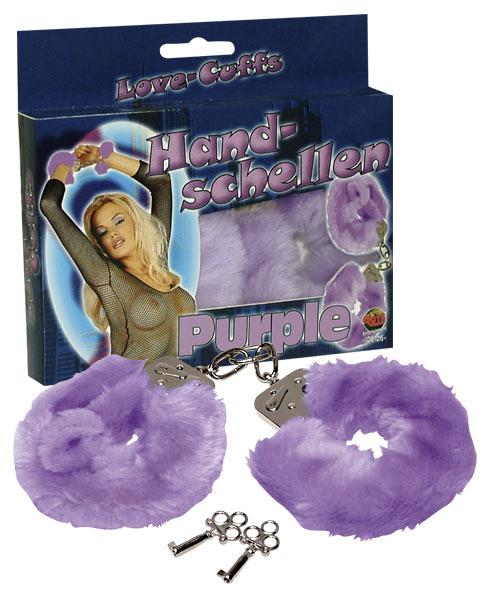 Наручники с мехом Hand-schellen, фиолетовые