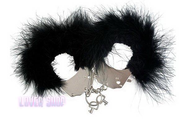 Наручники металлические с черной отделкой Adrien Lastic Handcuffs Black