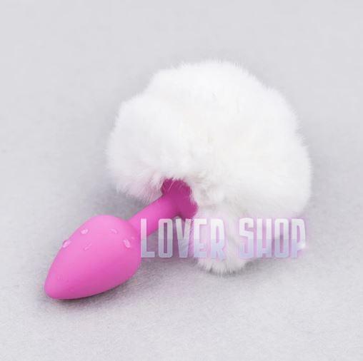 Анальная пробка розовая силиконовая с белым помпоном Lovetoy