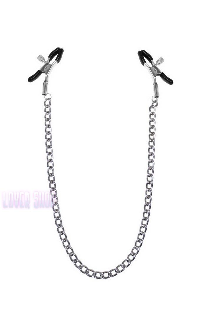 Зажимы для сосков с цепочкой Feral Feelings Nipple clamps Classic, серебро/черный