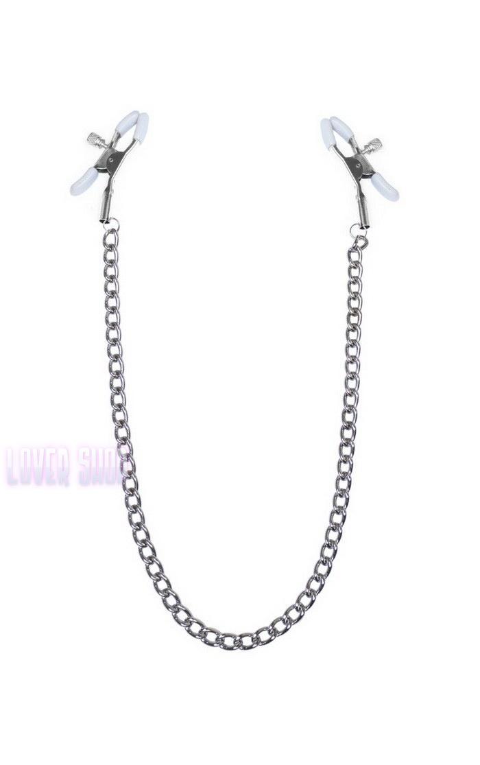 Зажимы для сосков с цепочкой Feral Feelings Nipple clamps Classic, серебро/белый
