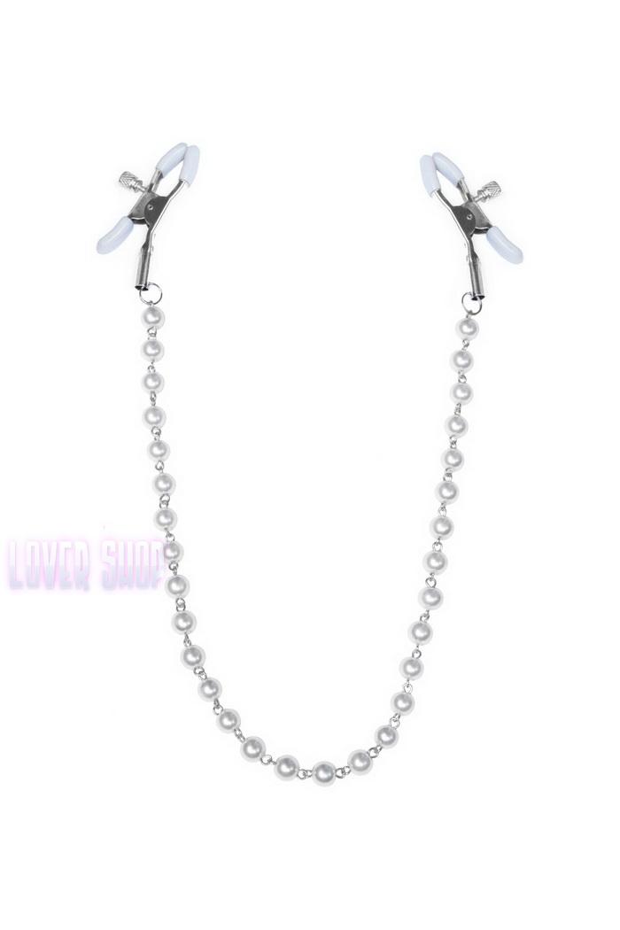 Зажимы для сосков с жемчугом Feral Feelings Nipple clamps Pearls, серебро/белый