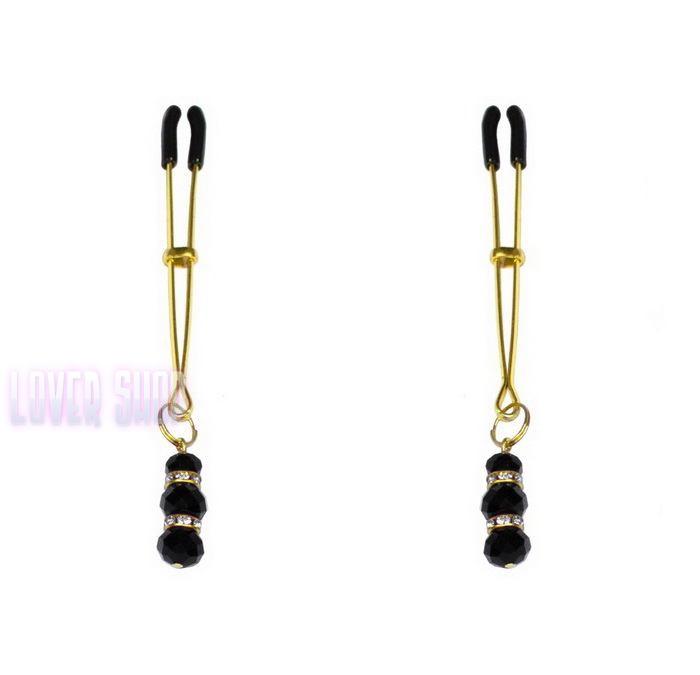 Тонкие зажимы для сосков с подвеской Feral Feelings Thin nipple clamps, золото/черный