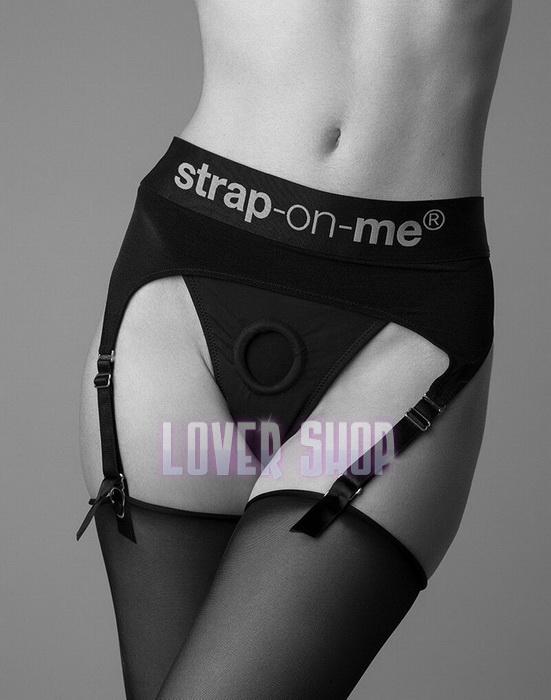 Трусы для страпона с подвязками для чулок Strap-On-Me Rebel Harness L