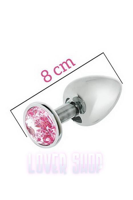 Металлическая анальная пробка с розовым кристаллом MAI Attraction Toys №73