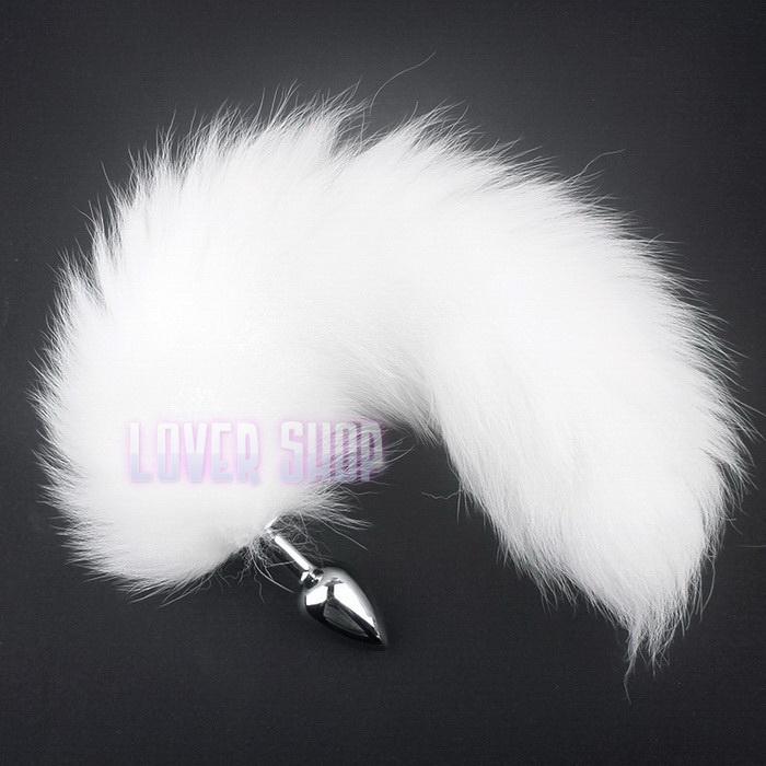 Анальная пробка с белым хвостом 41 см Lovetoy