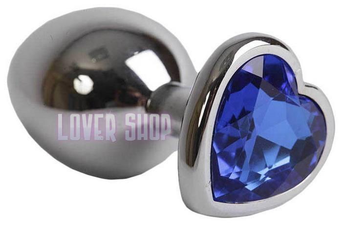 Анальная пробка сердечко с синим кристаллом Lovetoy s Blue
