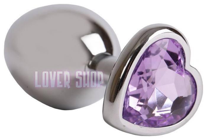 Анальная пробка сердечко с сиреневым кристаллом Lovetoy s Purple